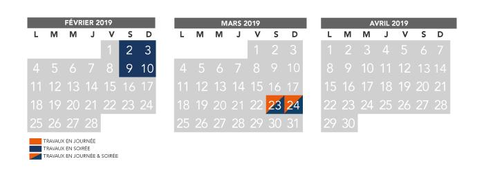 Fevrier Calendrier.Calendrier Trimestriel Travaux Fevrier A Avril 2019 Ligne